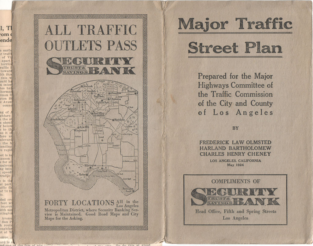 Los Angeles Past The  Olmsted Major Traffic Street Plan - Los angeles freeway map traffic
